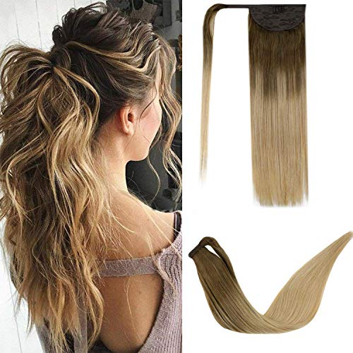 LaaVoo-Ponytail Hairpiece Hair Extension Braid-Natural And Beautiful Wearing Effect,Geeignet Für Formelle Anlässe,#8/14 Light Brown to Darkest Blonde (14 Zoll 70Gramm)