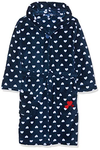 Playshoes Kinder Fleece-bademantel Herzchen Bademantel mit Kapuze, Blau (Marine 11), 146/152