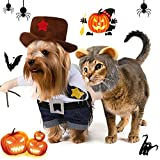 2 Piezas Uniformes de Vaquero de Halloween de Mascotas con Sombrero y Sombrero de Melena de León, Ropa de Disfraz para Perro Gato Cachorro Mascota (S)