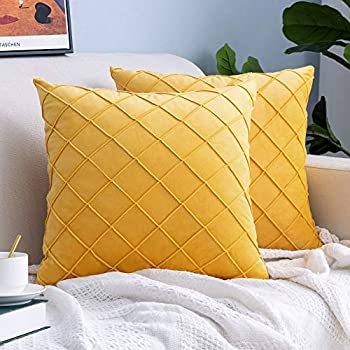 Lipo Velvet Throw Pillows Covers 22x22 - Set of 2 Soft Pillow Covers Square Decorative Euro Pillow Cover Soft Cushion Case Home Decor for Couch Bed Sofa Bedroom Car  Yellow 22X22