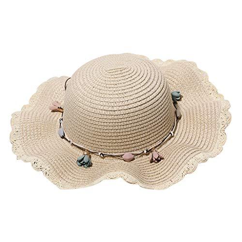 Teen Girls Summer Floppy Straw Sunhat Traveling Beach Wide Brim Caps UV Sun Protection Womens Beach Floral Sun Hats Beige