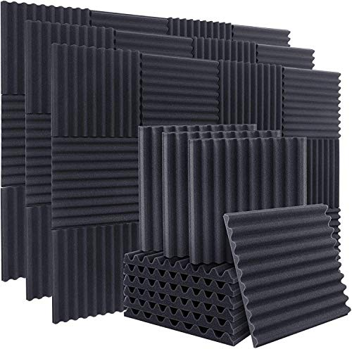 "ZHERMAO 50 Pack Acoustic Foam Arc Shaped Sound Proof Foam Panels Studio Foam Wedges, 1"" X 12"" X 12"" Soundproof Foam High Density Fireproof Sound Proofing Padding for Home Office Studio"