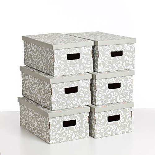 Kanguru Set De Seis Cajas De Almacenamiento En Cartón, UNDUETRE FLORAL -...