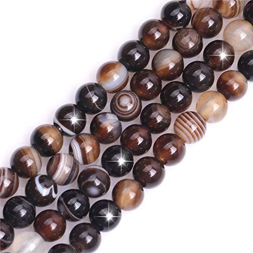 Natürlicher Kaffee Onyx Achat Edelstein Halbedelstein rund 8 mm lose Perlen für Schmuckherstellung DIY Armband Halskette Handwerk 38,1 cm
