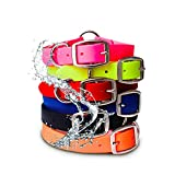 Orange Waterproof Dog Collar with Heavy Duty Center Ring - Custom Fit Vinyl-coated webbing Water Resistant, Anti Odor and Easy to Clean Dog Collar with double buckle and D Ring for Small Dogsor Puppy