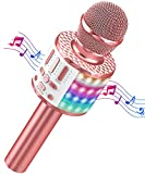 Micrófono Karaoke Bluetooth, Microfono Inalámbrico Karaoke con Altavoz y LED, Portátil Karaoke Inalámbrico Speaker para Niños Niñas Canta Partido Musica, Adultos Casa KTV Party para Android/iPhone/PC