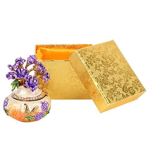 Caja de joyería Vintage, Organizador de Caja de Anillo de baratija pequeña esmaltada de Metal, decoración del hogar, Juego de Regalo para niñas y Mujeres, 2.2 x 2.8 in(Naranja)