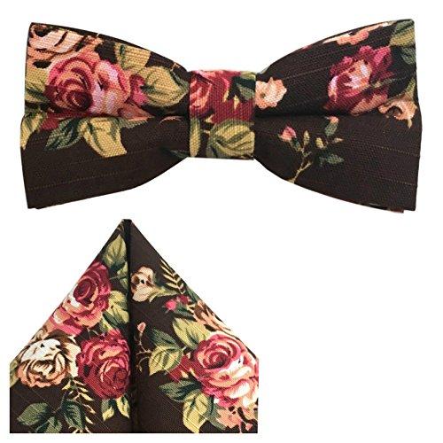 GASSANI 2Tlg Fliegenset, Braune Vintage Leinen-Herren-Fliege, Taschentuch Rosen-Muster, Hochzeitsfliege Anzug-Schleife Vor-Gebunden Ein-Stecktuch