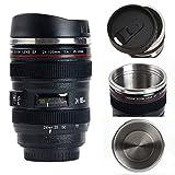 Camera Lens Coffee Mug/Cup With Lid,Photo Coffee Mugs Stainless Steel Travel Lens Mug