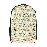 Mochila de viaje de 17 pulgadas resistente mochila escolar correr escalada portátil libro bolsa con correa acolchada para damas, Bebé Animales Perezoso Vivero (Blanco) - TB-ZXY-0wkxs49munlv-1