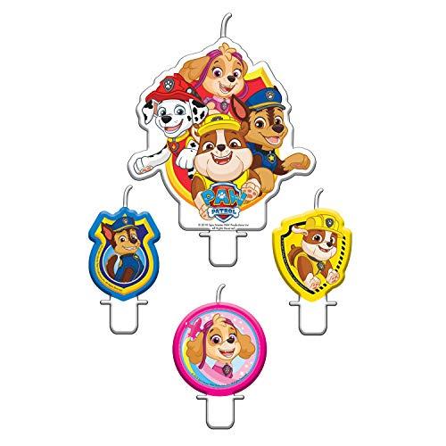 CAPRILO Lote de 4 Velas Infantiles Decorativas Patrulla Canina Juguetes y Regalos Fiestas de Cumpleaños, Bodas, Bautizos, Comuniones y Eventos.Decoración Original.
