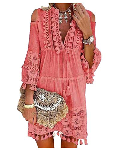 Ladyful Damen Kleider Sommerkleider Strand A-Linie Kleid Langarm Boho V-Ausschnitt Quaste Spitze Tunika Böhmen Kleider (Rosa, L)