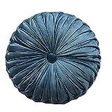 "Velvet Pleated Pillow Round Throw Pillow Cushion Padding European Solid Color Pumpkin Plush Floor Pillow Home Decoration Sofa ded Living Room Office Chair Sofa (Moonlight Blue, 17.5""(45cm))"