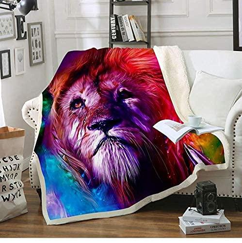 Manta de sherpa impresa en 3D, diseño de león rojo y morado