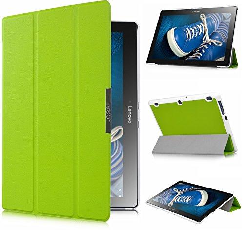 Lenovo TAB 2 A10-30F Schutzhülle,IVSO hochwertiges PU Leder Etui - mitStandfunktion, super 360° Anti-Wrestling, ist für Lenovo TAB 2 A10-30F 25,6 cm (10,1 Zoll HD IPS) Media Tablet PC perfektgeeignet, Grün