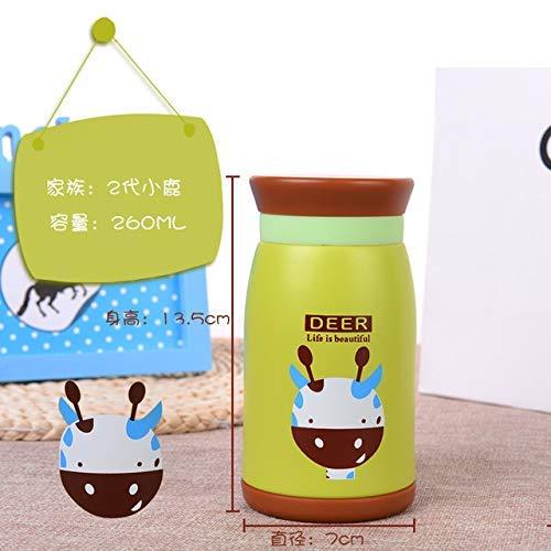 BECCYYLY 260ml / 350ml / 500ml Termos de Dibujos Animados Thermos Botella de Acero Inoxidable Termocup Frascos de vacío Taza térmica para niños, Ciervos de 260ml wmpa (Color : 260ml Deer)