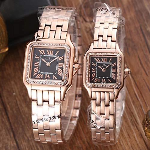 HHBB Reloj de lujo cuarzo zafiro acero inoxidable oro rosa plata blanco diamantes luminoso reloj mujer 22mm negro