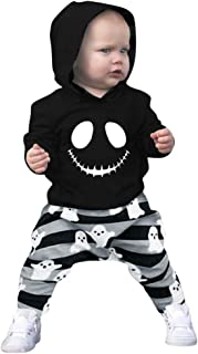 Halloween Clothes Toddler Baby Boys Cartoon Skull Hoodie Tops+Striped Pants Outfits