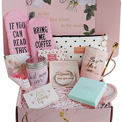 Gift Basket for Mom, Birthday Gifts for Best Mom, Women, Wife, Mother in Law, New Mom. Christmas Gift, Mom Gifts for Mothers Day-Includes Candle, Coffee Mug, Bracelet, Flower, Ring Dish,Coffee Socks