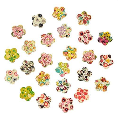 Romote 25 Paquete de impresión de la Flor 2 Agujeros Botones de Madera Forma de la Flor, para la Costura, el Scrapbooking, Adornos, artesanía, joyería, Moda lamentable, Tejido de Punto, 17x17mm
