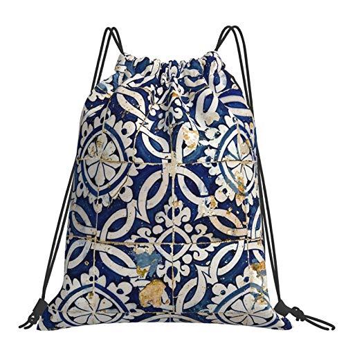 Rucksack mit Kordelzug, tragbar, verstellbar, wasserdicht, sportlich, glasierte Fliesen