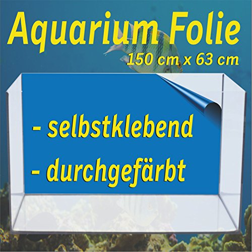 Aquarium Folien selbstklebend, Rückwand blau, Klebefolie für Aquarium inkl. Verklebezubehör, Folienformat 150 cm x 63 cm