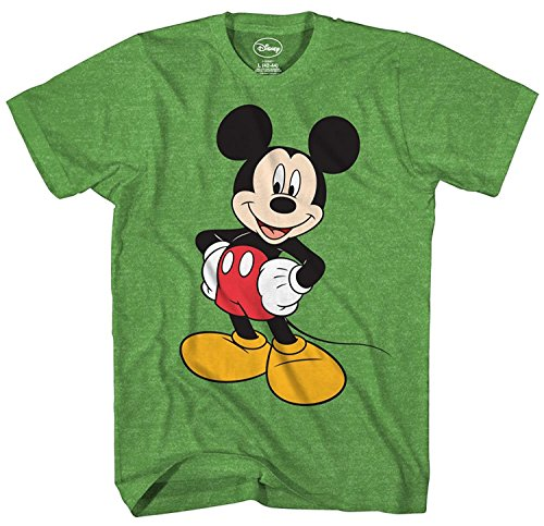 Mickey Mouse Disney Funny Graphic Tee Classic Vintage Disneyland World Mens Adult T-Shirt Apparel (X-Large, Heather Green)