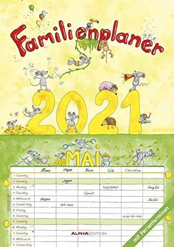 Familienplaner Cartoon 2021 - Familienkalender A3 (29,7x42 cm) - mit 6 Spalten - mit Ferienterminen - Wandplaner - mit viel Platz für Notizen - Alpha Edition: by Silke Leskien