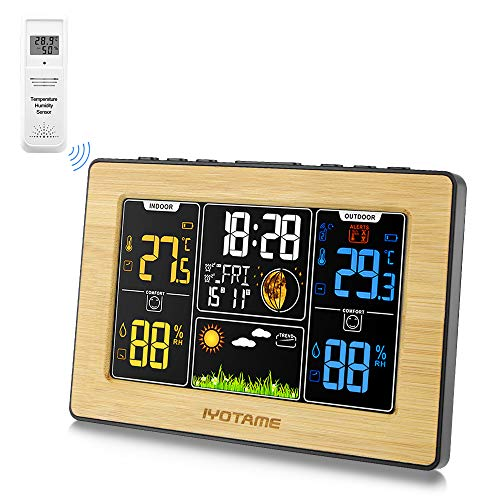 iyotame Weather Station,Wireless Indoor Outdoor Thermometer, Color Display Digital Weather Thermometer with Clock, Forecast Station with Calendar and Adjustable Backlight for Bedroom-Yellow