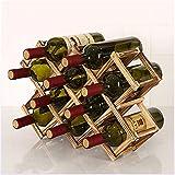 LOKIH Botellero Apilable Horizontal para Botellas De Vino, Soporte para Botellas De Vino De De Madera, Soporte De Almacenamiento Libre,Ten Bottles