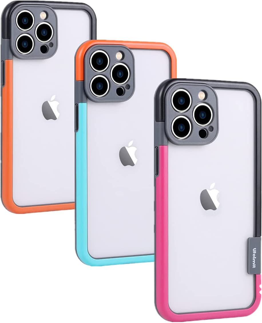 Frame Bumper Case for iPhone 13 Pro Max 6.7 Inch, 3 Colores Set, No-Back Heat Dissipation Better Than Clear, Faster Wireless Charging for Women Max