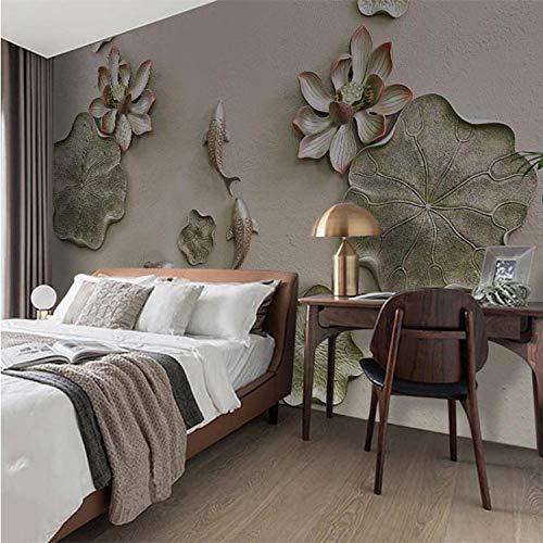 Papel pintado para pared, diseño de loto de carpa de cebra de loto, para salón, dormitorio, fondo, decoración clásica del hogar, 200 x 140 cm