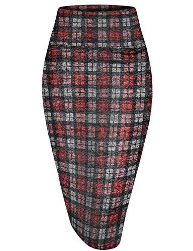 Hybrid & Company Womens Pencil Skirt for Office Wear KSK43584 10954 BLKRD S