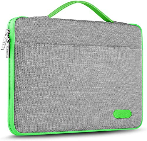 HSEOK Maletin Portatil 15 15,6 16 Pulgadas Funda Protectora Delgada Impermeable para MacBook Pro 15 16 y 15'-16' Laptop Ultrabook Chromebook, DELL HP Lenovo Acer Ausu y más, Gris&Borde Verde