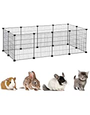 Pet Playpen Tent Large Cats Exercise Pen Crate Cage Kennel Dog Foldable Fence Yard Barrier for Kitten Puppy Rabbit Small Animal Guinea Pigs Ferret Outdoor Indoor (28 Panels, Black)