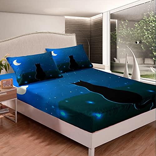 Set di biancheria da letto con motivo cielo stellato, per ragazze, ragazzi, bambini, gatto, con angoli decorativi, stampa luna, set di lenzuola a tema esterno, colore blu scuro, matrimoniale, 3 pezzi