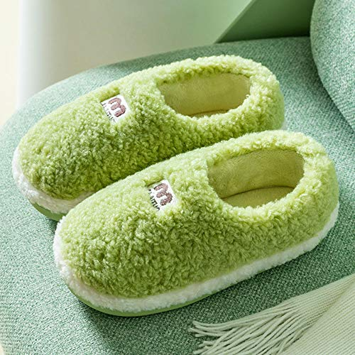 Nwarmsouth Zapatillas de Invierno para Hombres y Mujeres,Bolsa con Zapatos de casa de algodón, Zapatillas de Felpa cálidas-Verde_39-40,Caliente Suave Antideslizante Slippers