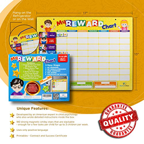 HomeN'Stars Chore Chart for Kids (60 Color Coded Chore Tags) Magnetic Responsibility Chart for Good at Home Behavior, Routines