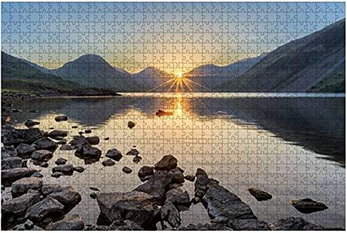 1000 piezas-Golden Sunrise en Wastwater Lake con rocas y montañas Rompecabezas de madera DIY Niños Rompecabezas educativos Regalo de descompresión para adultos Juegos creativos Juguetes Rompecabezas
