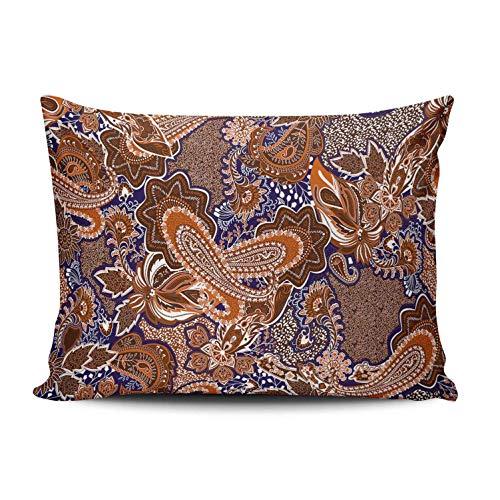 SUN DANCE Funda de almohada para dormitorio, decoración retro, diseño de cachemira, funda de cojín con estampado de un lado, King 50 x 91 cm