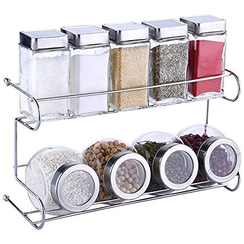 miaoyu Contenedores de almacenamiento de especias de cocina, juego de frascos de condimento, estante de especias 10 unids/set