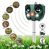 Nasharia - Ahuyentador por ultrasonidos para gatos, impermeable, con pilas, con flash, 5 modos ajustables, ultrasonido, defensa contra animales para gatos, perros, plagas y animales