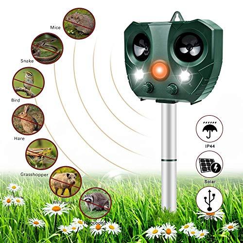 Nasharia Katzenschreck Ultraschall Solar, wasserdichte Utraschall Abwehr, Tiervertreiber Ultraschall für Katzen, Hunde, Schädlinge, Rotwild