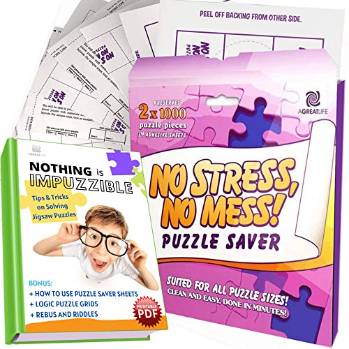 AGREATLIFE New Improved 14 Sheets No Stress, No Mess Puzzle Saver - Puzzle Glue Sheets for Large Puzzles : Permanent Puzzle Conserver with 4 pcs Adhesive Wall Hangers - Save Up to 2000 Pieces Puzzle