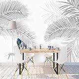 Papel tapiz con motivos Planta de la selva gris Hojas de palmera Papel tapiz con diseño 3D Papel tapiz fotog Pared Pintado Papel tapiz 3D Decoración dormitorio Fotomural sala sofá mural-350cm×256cm