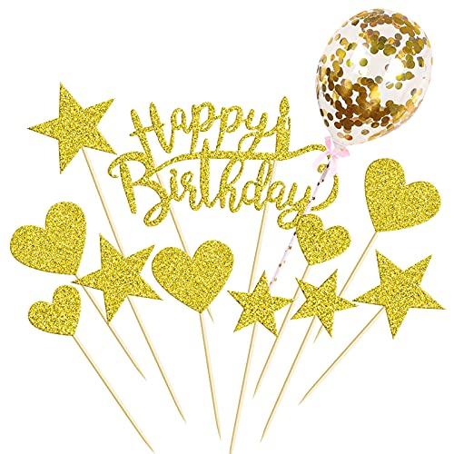 HONGECB Decorazione per Torta di Compleanno, Decorazioni per Torte con Glitter, Ghirlande con Cuori e Stelle, Stella Decorazione Della Torta Tema per Feste (Oro)