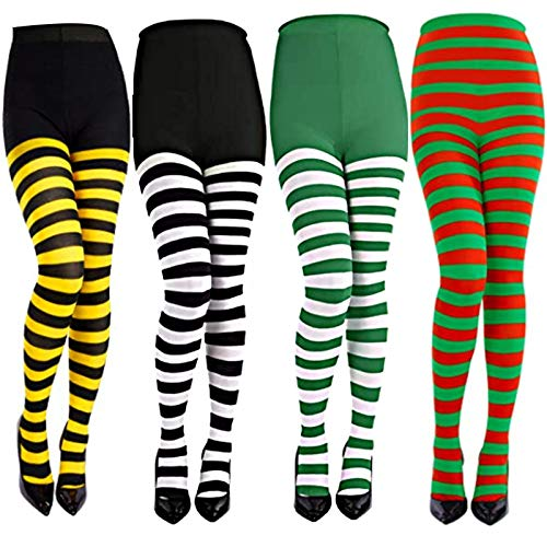 4 Pairs Stripped Stockings Full Tights Over Knee Thigh High Leggings for Christmas Halloween Costume Accessory