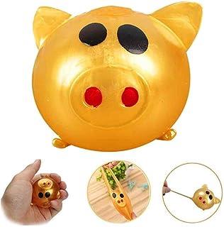 Wenini Sueeze Ball Pig Toy Anti-Stress Decompression Splat Ball Vent Toy Smash Various Styles Pig Toys Gold