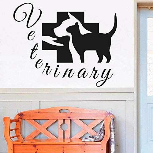 HGFDHG Cat and dog veterinary services hospital vinyl wall stickers animal home for beauty salon wall materials