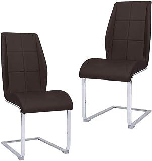 vidaXL 2X Sillas de Comedor Voladizas Asiento Mobiliario Muebles Cocina Salón Sala de Estar Escritorio Acolchado Respaldo Tela Marrón